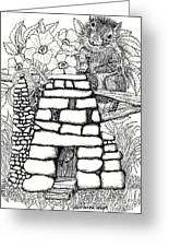 Square Rock Fairy House And Squirrel Greeting Card
