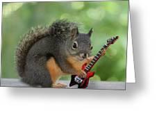 Squirrel Playing Electric Guitar Greeting Card