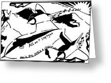Sr-71 Blackbird Maze Cartoon By Yonatan Frimer Greeting Card