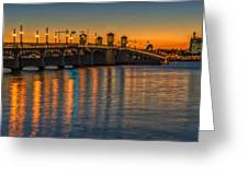 St Augustine Bridge Of Lions Sunset Dsc00433_16 Greeting Card