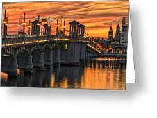 St Augustine Bridge Of Lions Sunset Dsc00565_16 Greeting Card