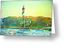 St Augustine Lighthouse Waterscaped Greeting Card