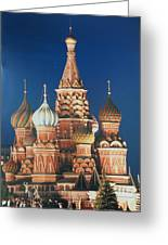 St Basil's By Night Greeting Card