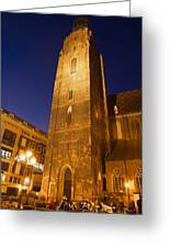 St. Elizabeth's Church Tower At Night In Wroclaw Greeting Card
