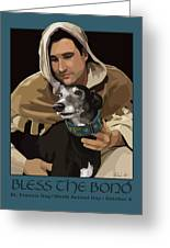 St. Francis With Greyhound Greeting Card by Kris Hackleman