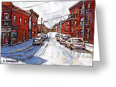 St Henri Depanneur Canadian Paintings Mini Montreal Masterpieces For Sale Petits Formats A Vendre  Greeting Card