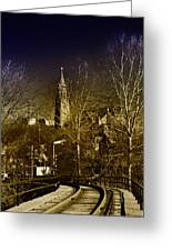 St. John The Baptist From The Rail Road Trestle In Manayunk Greeting Card
