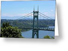 St Johns Bridge And Mount Hood Greeting Card