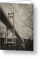 St. Johns Bridge In Black And White Greeting Card