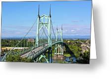St Johns Bridge Over Willamette River Greeting Card