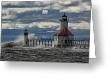 Big Waves - St. Joseph Lighthouse Greeting Card