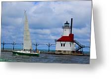 St. Joseph Lighthouse Sailboat Greeting Card