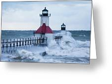 St. Joseph Lighthouse With Waves Greeting Card