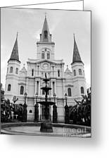 St Louis Cathedral And Fountain Jackson Square French Quarter New Orleans Black And White Greeting Card