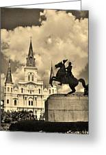 St. Louis Cathedral And Statue Greeting Card