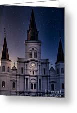 St. Louis Cathedral At Night Greeting Card