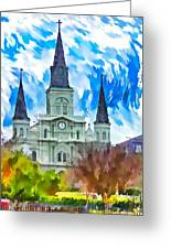 St. Louis Cathedral - Paint Greeting Card