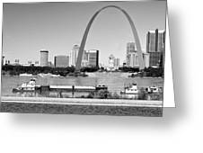 St Louis City Scape In Black And White Greeting Card