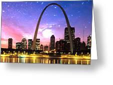 St Louis Skyline As Night Falls Greeting Card