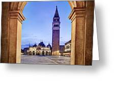 St Mark's Square Arch - Venice Greeting Card by Barry O Carroll
