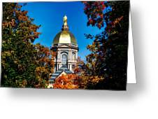 St Mary Atop The Golden Dome Of Notre Dame Greeting Card