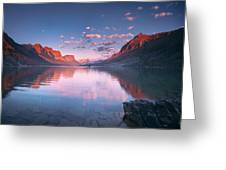 St Mary Lake In Early Morning With Moon Greeting Card
