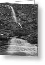 St Mary Triple Cascades - Black And White Greeting Card