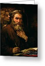St Matthew And The Angel Greeting Card by Rembrandt Harmensz van Rijn