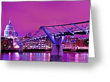 St Pauls And Millennium Bridge Over The River Thames Greeting Card