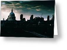 St Paul's Cathedral And Millennium Bridge In The Evening In London, England Greeting Card