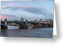 St. Paul's Cathedral Behind The Southwark Bridge During Sunset Greeting Card