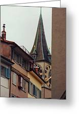 St. Peter Tower Zurich Switzerland Greeting Card by Susanne Van Hulst