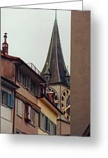 St. Peter Tower Zurich Switzerland Greeting Card by Susanne Van Hulst