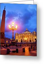St. Peters Cathedral At Night Greeting Card
