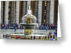 St. Peter's Square Fountain At The Vatican Greeting Card