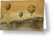 St Petersburg With Air Baloons Greeting Card by Jeff Burgess
