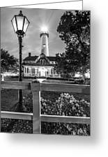 St. Simons Lighthouse Black And White Greeting Card