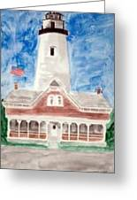 St Simons Lighthouse Nautical Painting Print Greeting Card