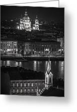 St Stephens Basilica Night Bw Greeting Card