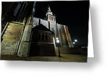 St. Steven's Church In Nijmegen At Night Greeting Card