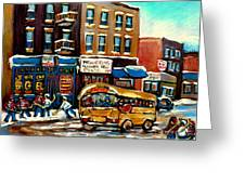 St. Viateur Bagel With Hockey Bus  Greeting Card