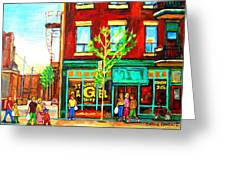 St. Viateur Bagel With Shoppers Greeting Card