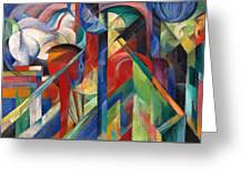 Stables By Franz Marc Bright Painting Of Horses In A Stable Greeting Card