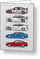 Stack Of Bmw 3 Series E36 Coupes Greeting Card