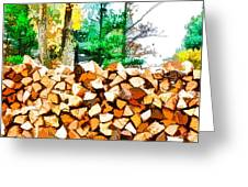 Stacked Fire Wood In Preparation For Winter 1 Greeting Card