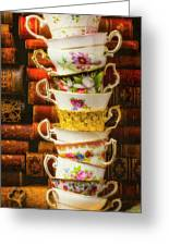 Stacked High Tea Cups Greeting Card