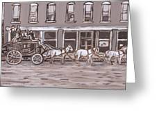 Stagecoach In Saratoga Historical Vignette Greeting Card