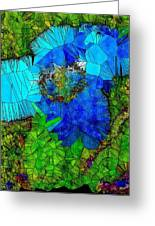 Stained Glass Blue Poppy One Greeting Card