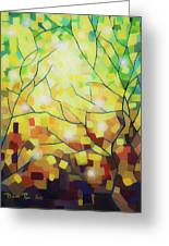 Stained Glass Forest Greeting Card