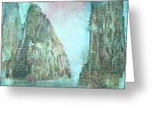 Stained Glass Mountain Temple Greeting Card
